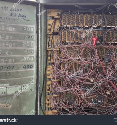 old telephone wiring cabinet with door open  [ 1500 x 1225 Pixel ]