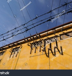 old transformer building with transformer points in sunny day clean blue sky background barbed [ 1500 x 1170 Pixel ]
