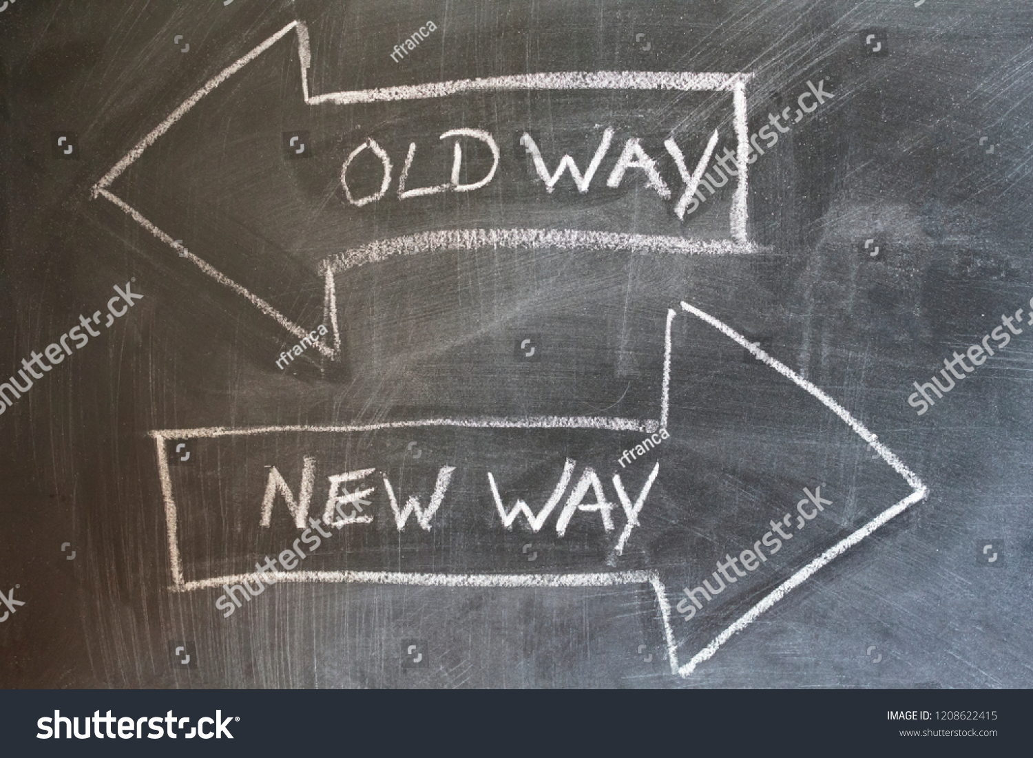 hight resolution of old way new way written on chalkboard change concept
