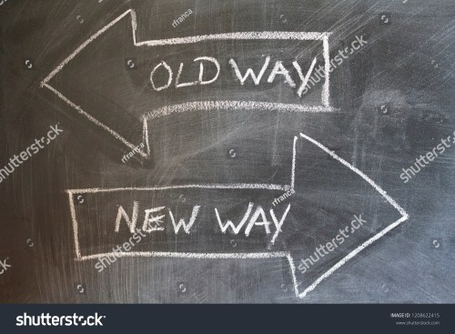 small resolution of old way new way written on chalkboard change concept