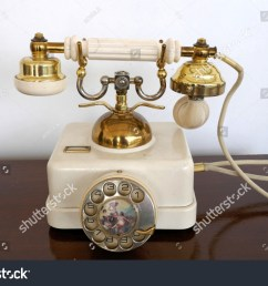old white golden antique telephone with decorated dial rare retro phone probably 20s [ 1500 x 1101 Pixel ]