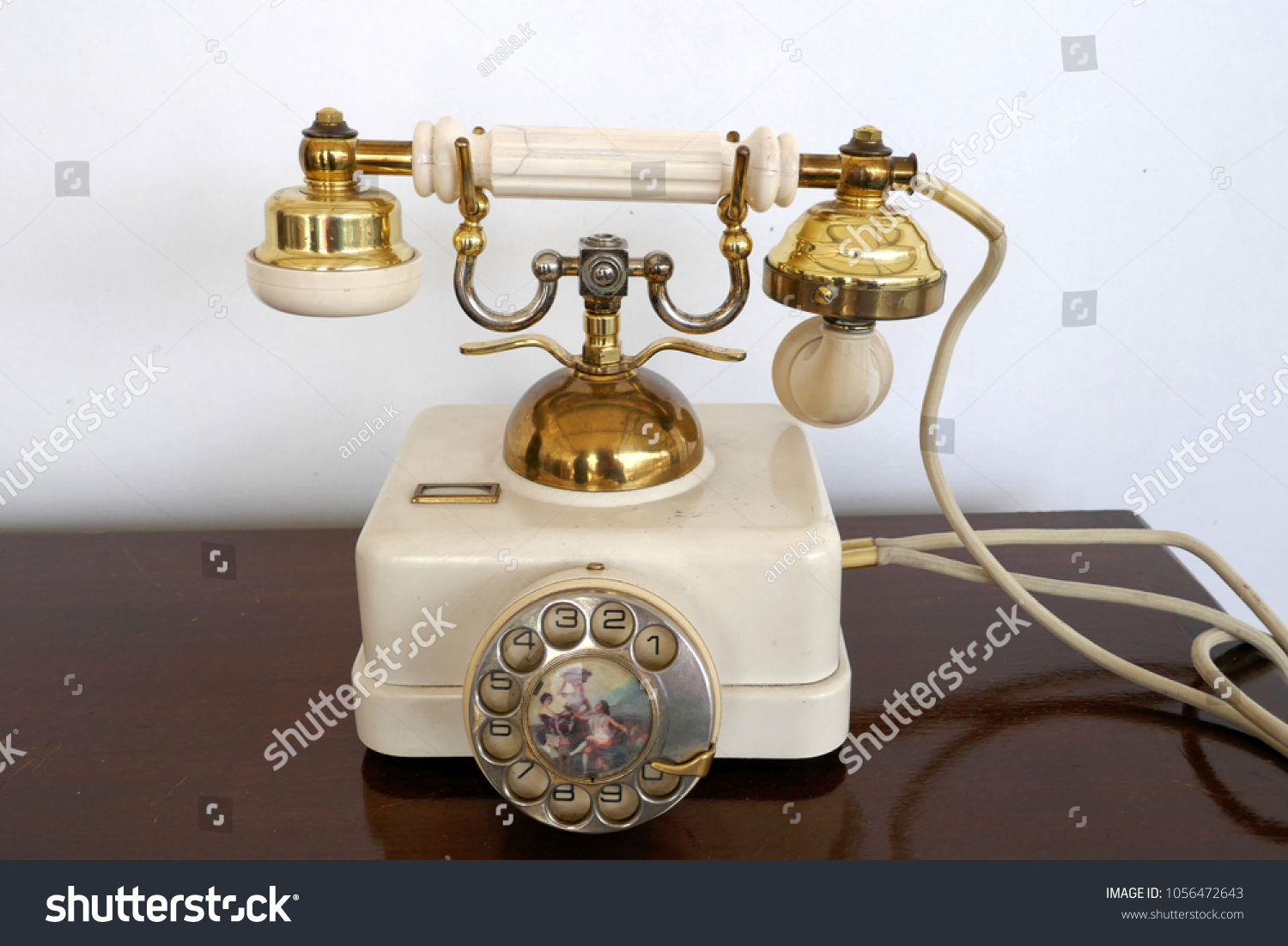 hight resolution of old white golden antique telephone with decorated dial rare retro phone probably 20s