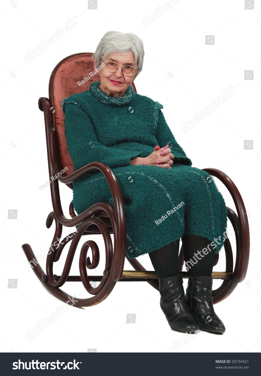 old lady chair white rocking nursery woman sitting on wooden stock photo 50734321