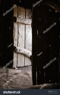 Old Wooden Doors Open To A Shed From The Inside Stock ...
