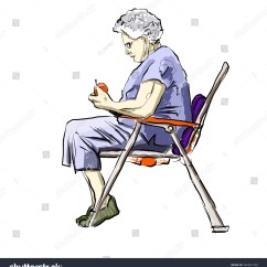 Outdoor Chair For Elderly Living Room Furniture Chairs Older Woman Sitting Lawn Stock Illustration