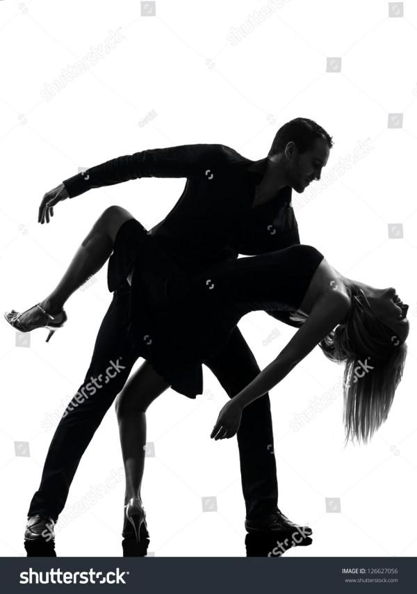One Caucasian Couple Woman Man Dancing Dancers Salsa Rock