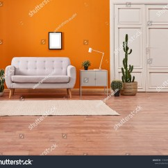 Grey White Orange Living Room Decor On A Budget Wall Background Stock Photo Edit Now And Light Sofa Avangard Door Modern