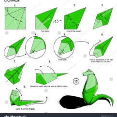 Origami Angel Step By Diagram 2 Way Wiring Animal Snake Cobra Instructions Stock