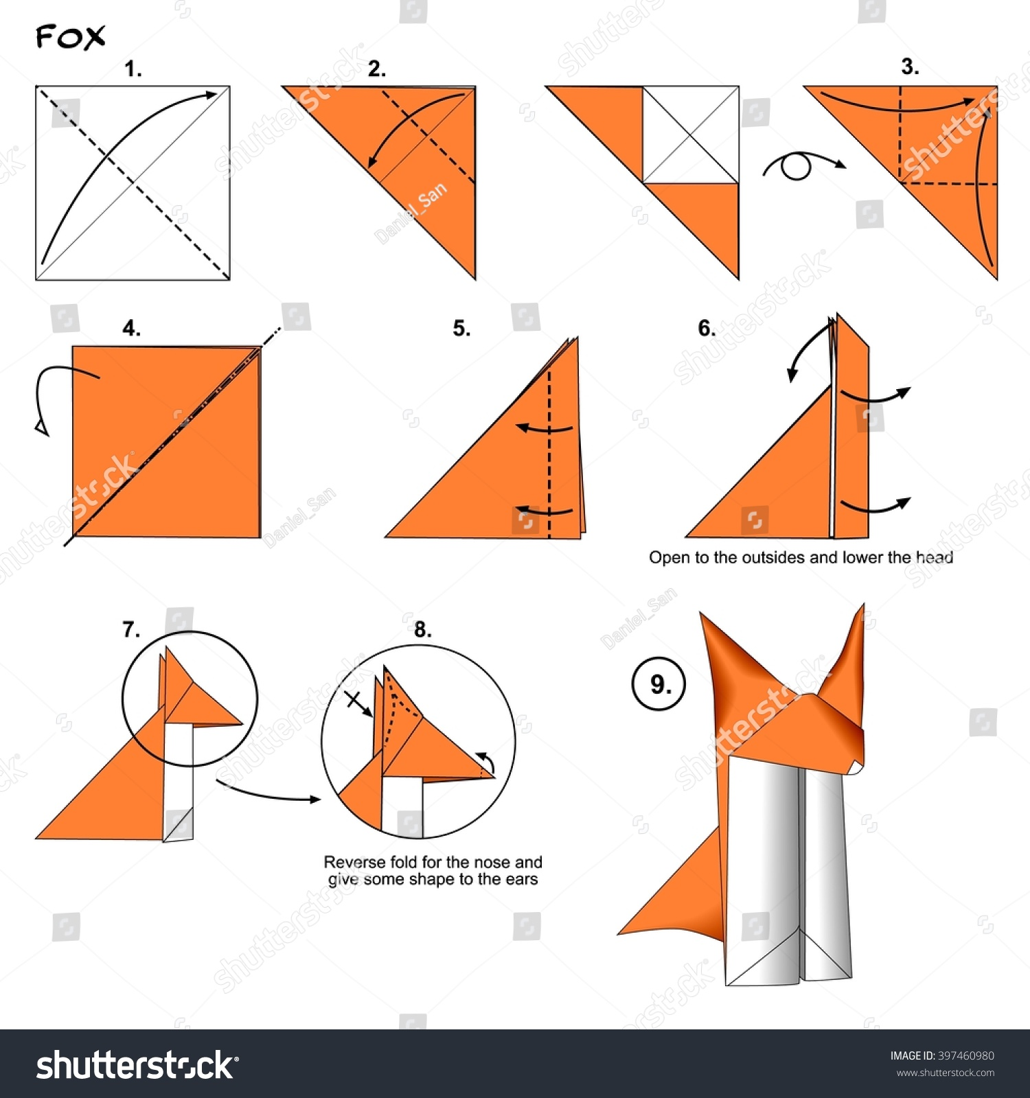 origami wolf instructions diagram ge xl44 oven wiring animal traditional fox stock