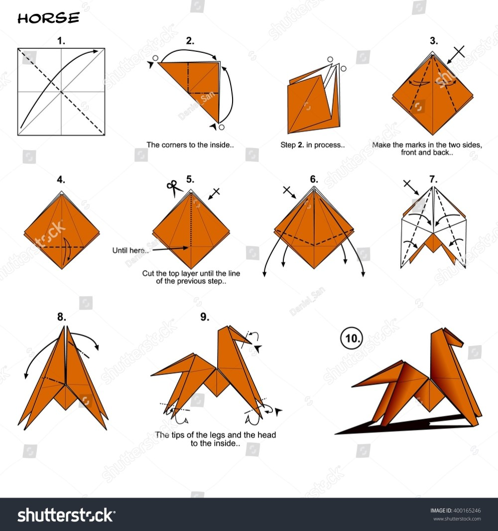 medium resolution of origami animal traditional horse diagram instructions steps