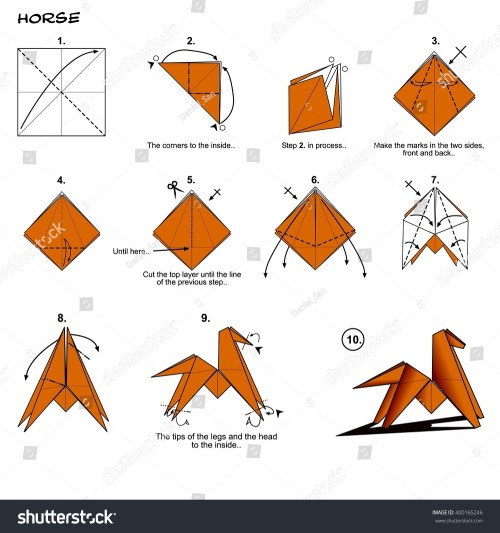 small resolution of origami animal traditional horse diagram instructions steps