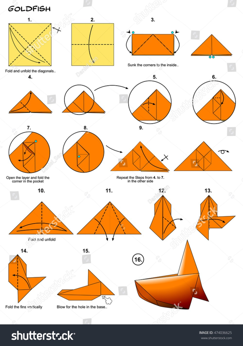 medium resolution of origami sea animal fish goldfish diagram instructions steps