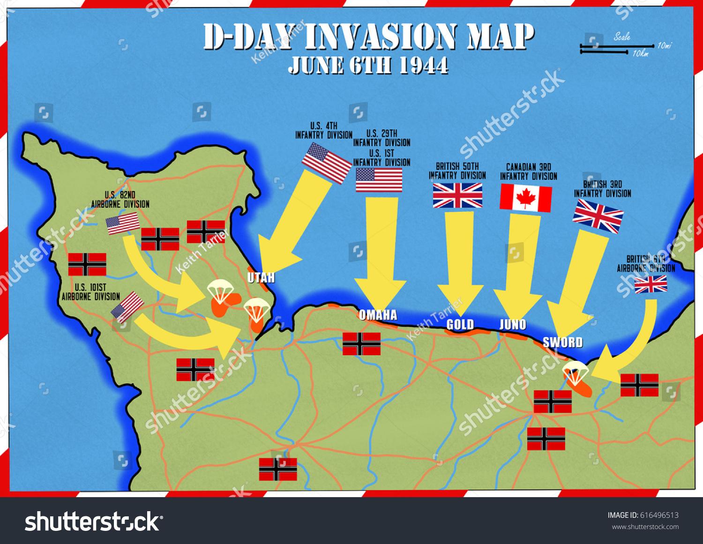 Original Hand Drawn Map Dday Invasion Stock Illustration