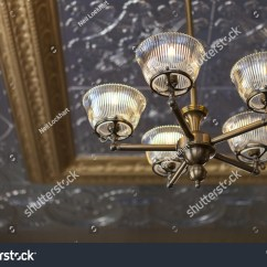 Light Fixture Deutsch 1989 Toyota Pickup Wiring Diagram Ornate Silver Ceiling Lighting Shallow Stock Photo