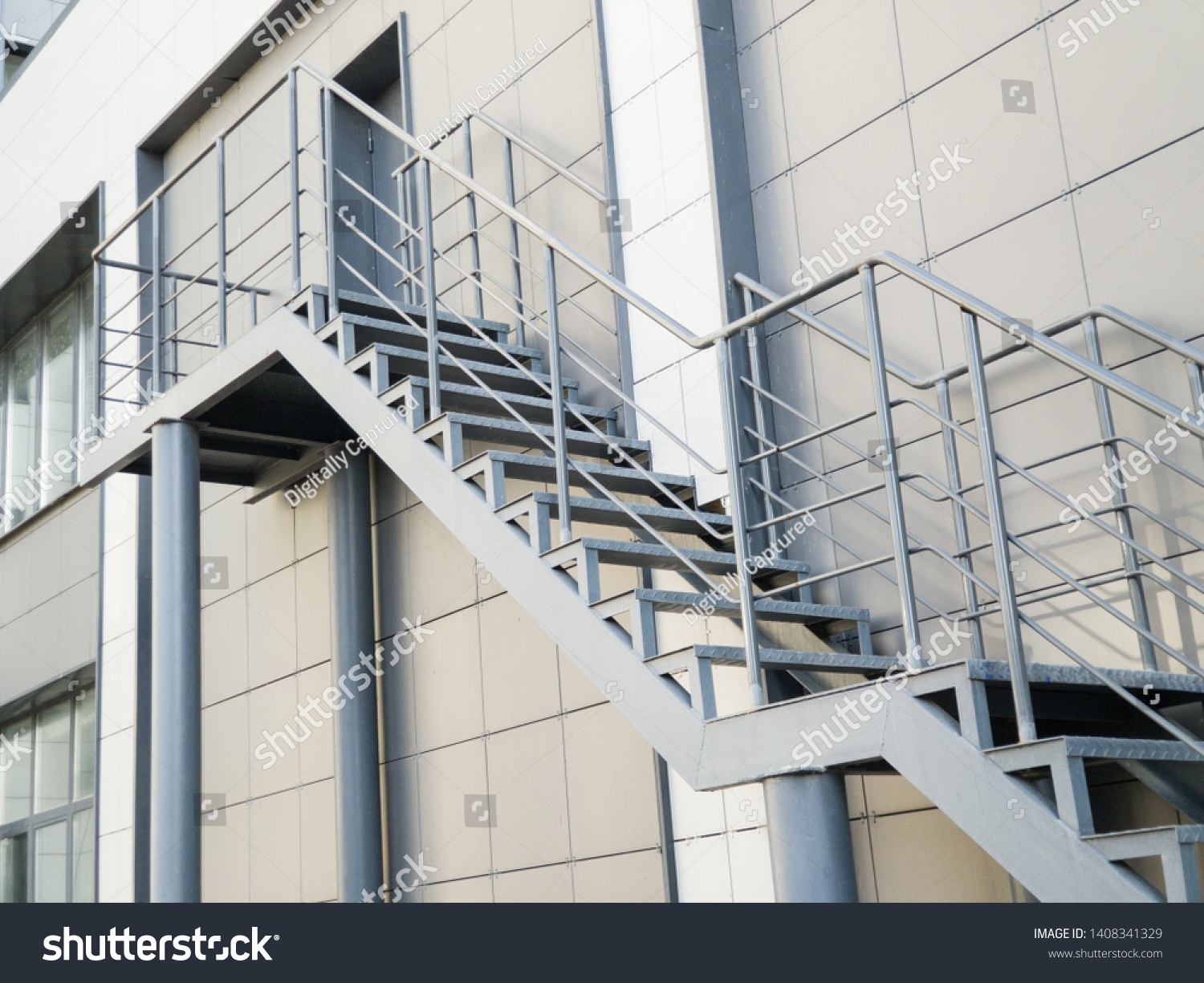 Outdoor Iron Staircase Stainless Steel Handrail Stock Photo Edit   Iron Stairs Design Outdoor   Deck   Modern   Custom Canada Staircase Home   Creative   Simple