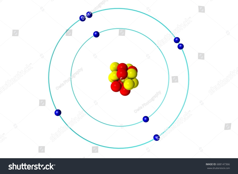Oxygen Atom Proton Neutron Electron 3d Stock Illustration