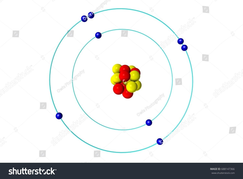 bohr diagram of oxygen 1931 ford wiring atom proton neutron electron 3d stock illustration