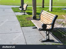 Pair Metal Wooden Benches Beach Park Stock 64672510