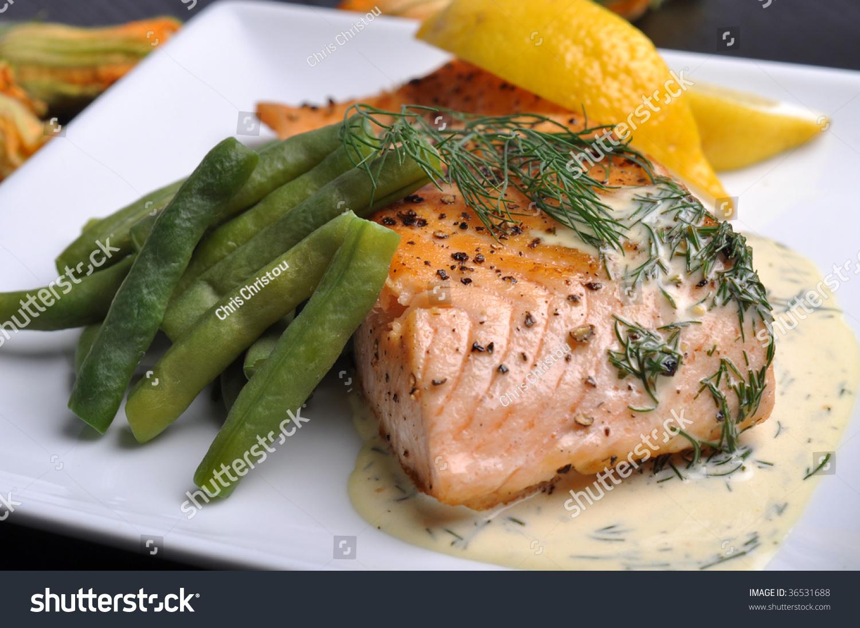 Pan-Fried Salmon Steak With Lemon Dill Sauce Stock Photo 36531688 : Shutterstock