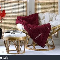 Papasan Chair Stool Cushions Folding Hinge Point W Cushion Vase Stock Photo 1558834