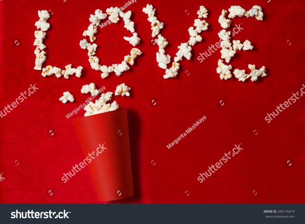 Paper Cup Popcorn Lined Word On Stock Photo 340176419