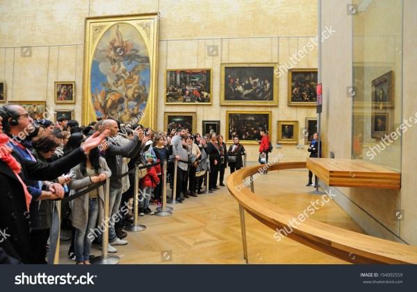 Paris - Mar 1 People Waiting Queue Mona Lisa Painting Louvre Museum Musee
