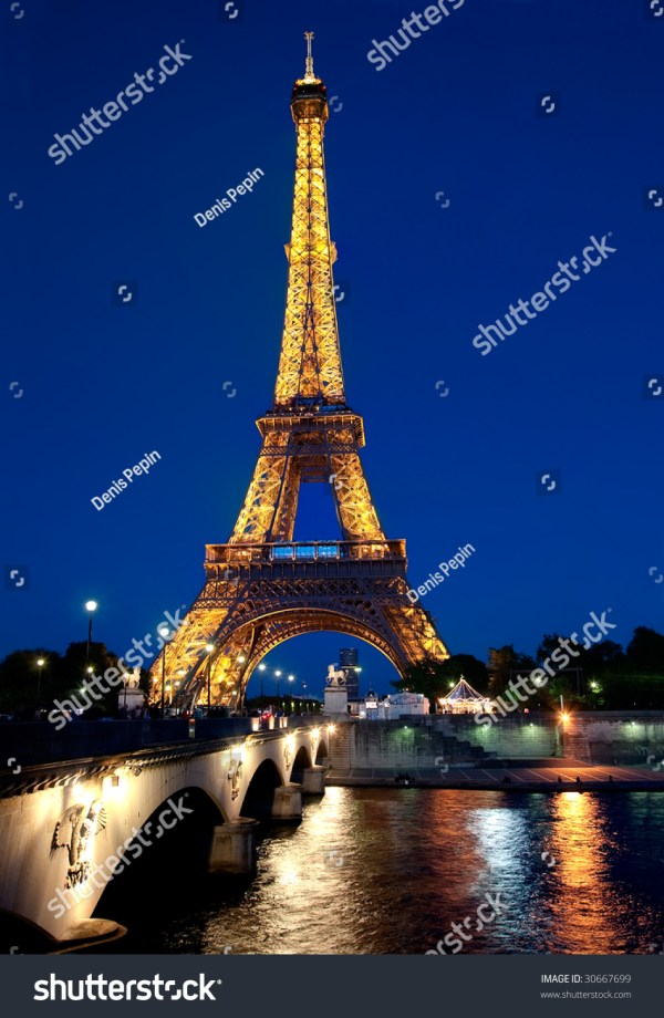 Paris 17 Illuminated Eiffel Tower Stock 30667699