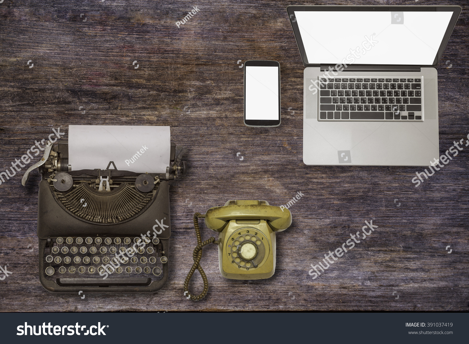 Past Present Future Technology Devices Typewriter Stock