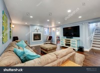 Pastel Blue Walls Basement Living Room Stock Photo ...