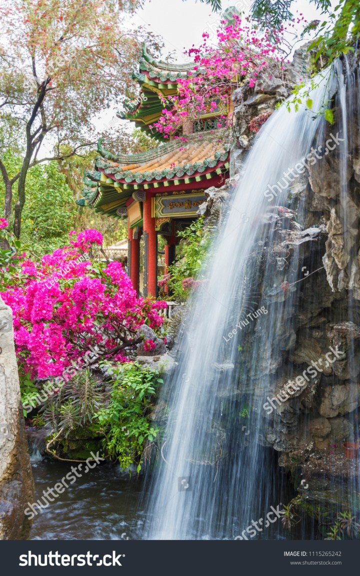 pavilion waterfall oriental garden hong kong stock photo