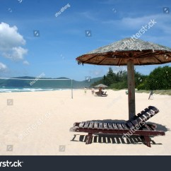 Perfect Beach Chairs Wooden Rocking Chair Holiday With And Umbrella On The