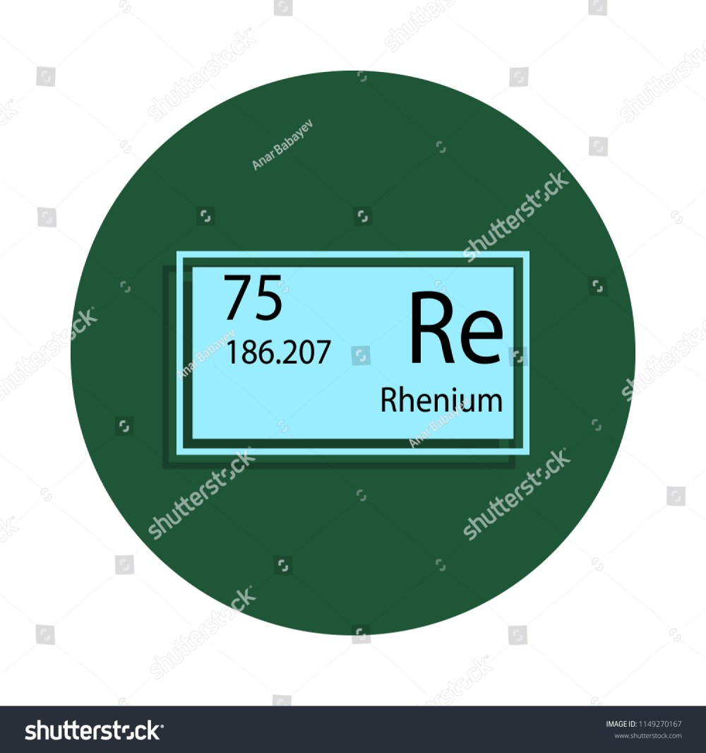 medium resolution of periodic table element rhenium icon in badge style one of chemical signs collection icon can