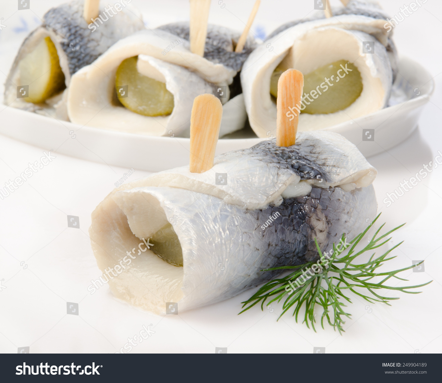 Pickled Herring With Dill,( In German Rollmops) Stock Photo 249904189 : Shutterstock