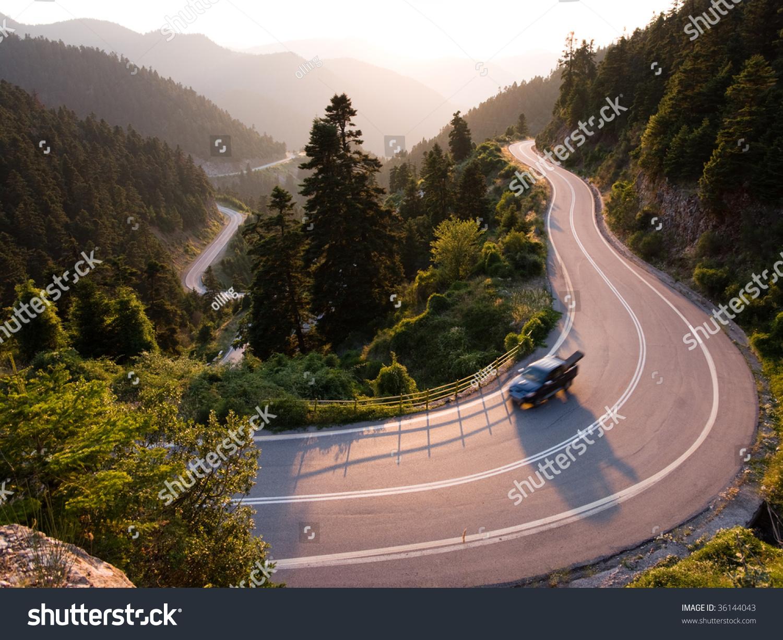 Pickup Crosses Mountain Road Winding In Twilight Stock Photo 36144043 : Shutterstock