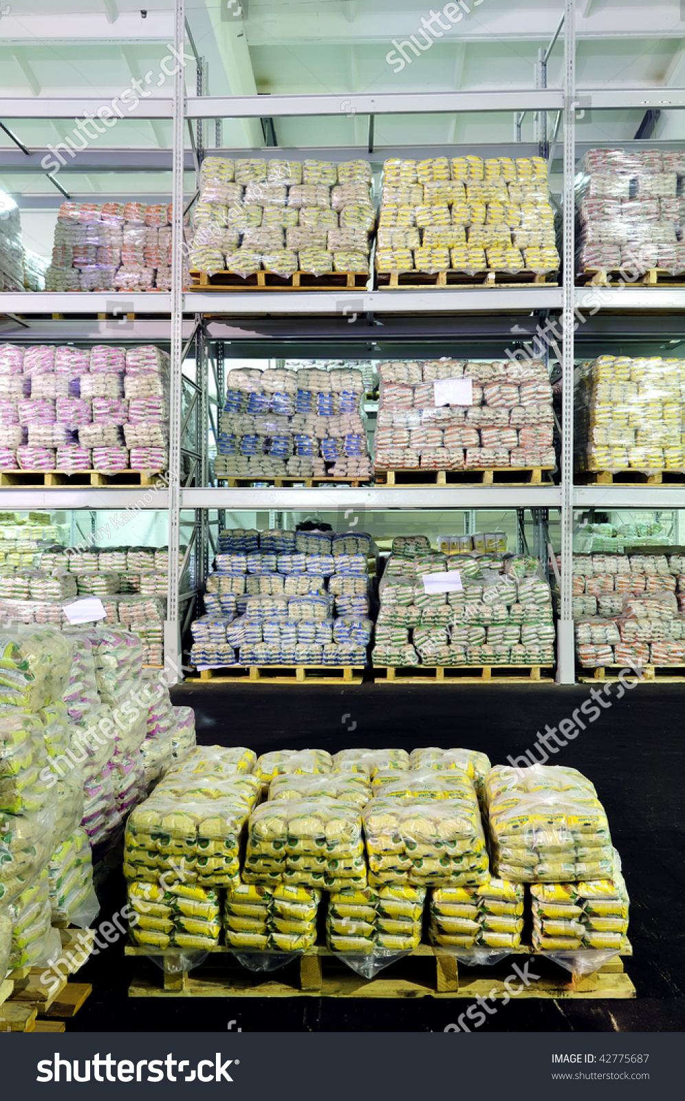 Pile Of Food Production Stacked In Warehouse Shelves Stock Photo 42775687 : Shutterstock