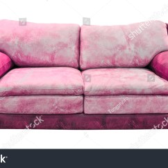 Pink Leather Sofas Comfortable Sleeper Sofa Isolated With Clipping Path Stock Photo