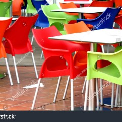 Fast Table Chair Herman Miller Eames Repair Plastic Chairs Tables Food Restaurant Stock Photo