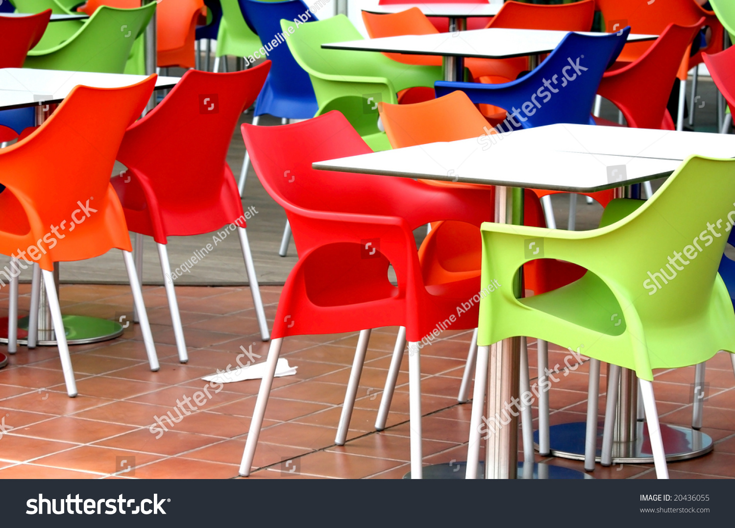 Food Chair Plastic Chairs Tables Fast Food Restaurant Stock Photo