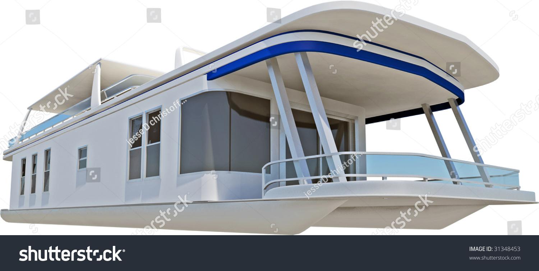 hight resolution of pontoon boat on white