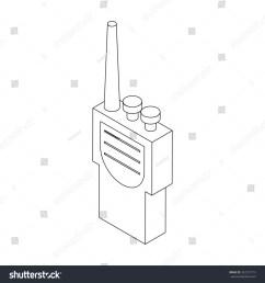 portable handheld radio icon in isometric 3d style [ 1500 x 1600 Pixel ]