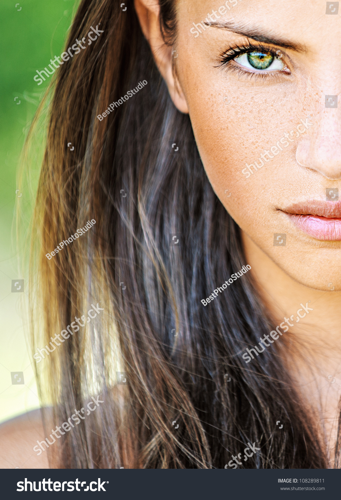 Portrait Close Half Face Young Beautiful Stock Photo