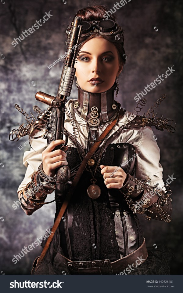 Portrait Beautiful Steampunk Woman Holding Gun Stock