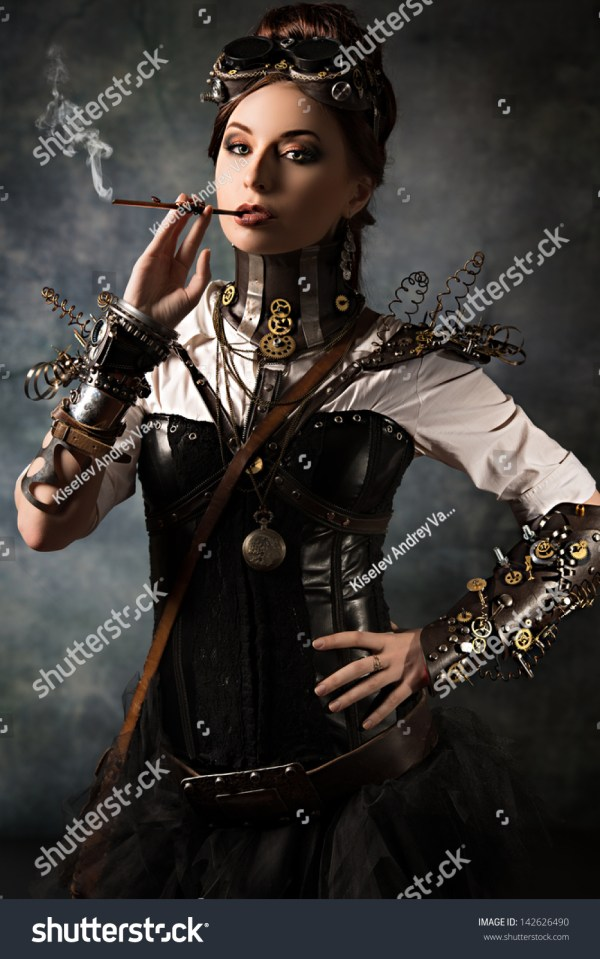 Portrait Beautiful Steampunk Woman Over Grunge Stock