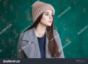 portrait hipster girl long brown