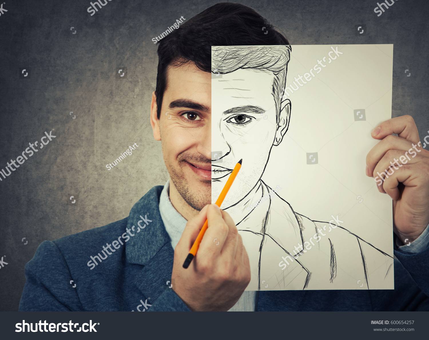Portrait Smiling Businessman Hiding Half Face Stock Photo