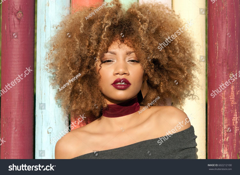 Portrait Attractive Black Model Natural Curly Stock Photo Edit