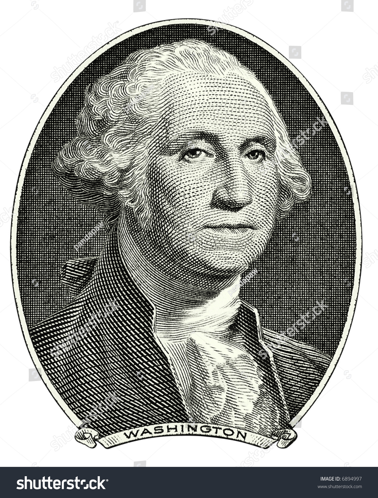Portrait First Us President George Washington Stock Photo