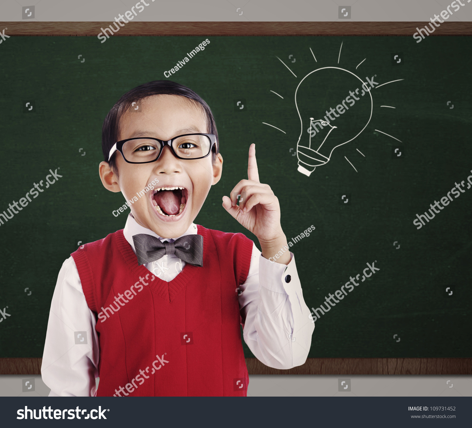 Portrait Male Elementary School Student Lightbulb Zdj Cie Stockowe