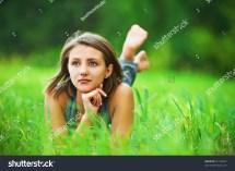 Portrait Romantic Young Woman Short Hair Stock