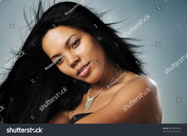 Portrait Of Young Beautiful African Hispanic Woman With